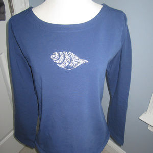NEW FRESH PRODUCE NAVY SWEATSHIRT W/ SHELL ACCENT